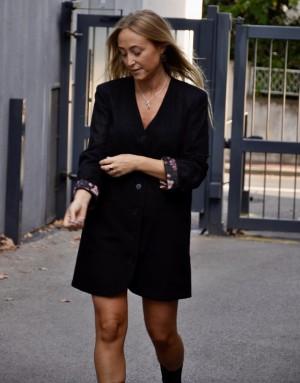 robe noire - Karine - doublure fleurie rose - Ma petite robe francaise