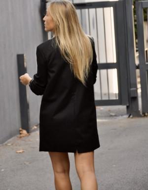 Blazer - redingote - en laine noire et doublure et manches imprimé fleuri - Ma petite robe francaise